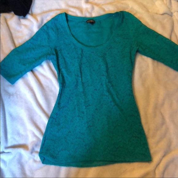 Express Tops - Teal lace top